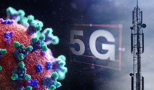 The coronavirus and a 5G mobile mast